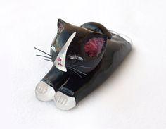 Tuxedo Cat Figurine Tuxedo Cat Miniature by ThreeLittleCatsShop, $20.00