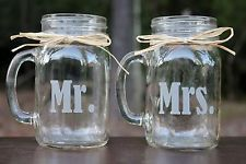 Engraved Mr and Mrs Mason Jar Mugs