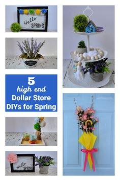 I love adding seasonal decor to my home... and I really enjoy when I can get a high-end look inexpensively. This post has FIVE fantastic Spring DIYs (using dollar store supplies) that you are going to love! Craft Tutorials, Diy Projects, Store Supply, Spring Has Sprung, Seasonal Decor, Dollar Stores, Holiday Fun, Party Planning, Diys