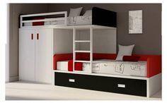 Lit superposé avec une armoire et un tiroir - Acheter en ligne - Meubles Ros