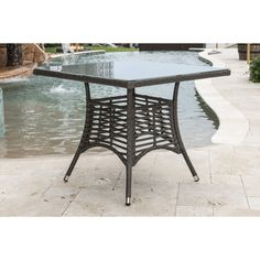 """Panama Jack Graphite Square Dining Table 36"""" W/Frost Glass & Hole"""