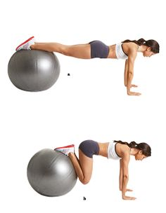 Flat-belly boot camp Fitness-ball jackknife Position your hands shoulder-width apart on the floor and place your shins on a fitness ball. Your body should form a straight line from head to heels (a). Keeping your back flat, slowly bend your knees towards your chest (b). Pause then return to the start. That's one rep. Do 15-20