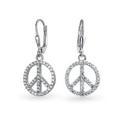 Bling Jewelry .925 Silver CZ Pave Lever Back Peace Dangle Earrings ** See this great product. (This is an affiliate link) #JewelryForSale