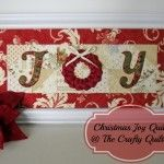 Christmas JOY quilt at the Crafty Quilter cute idea for cards with braided ribbon wreath