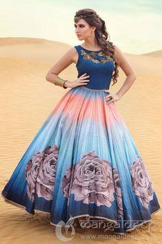 Elegant Blue Raw Silk Printed Readymade Anarkali    #Anarkali, #Blue, #Printed, #RawSilk