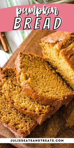 This is the best pumpkin bread ever! Tender, moist and delicious and loaded with warm spices. It's just like your Mom used to make! It's a classic recipe will make two loaves to snack on all fall. Enjoy one loaf now and learn how to freeze the second loaf to enjoy later. #pumpkin #bread Apple Recipes, Pumpkin Recipes, Fall Recipes, Bread Recipes, Best Pumpkin Bread Recipe, Best Banana Bread, Delicious Deserts, Yummy Food, Tasty