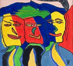 Triple face, schilderij van Rene Klerks | Abstract | Modern | Kunst