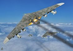 The Horten H.XVIII was a proposed German World War II intercontinental bomber that would have been based upon the Horten Ho 229 design. Like the Ho Horten H. Horten Ho 229, Ww2 Aircraft, Fighter Aircraft, Military Aircraft, Fighter Jets, Luftwaffe, Flying Wing, Experimental Aircraft, Ww2 Planes