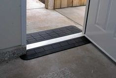 A threshold ramp like this make it easier for walkers and wheelchairs to pass through doorsways. Handicap Accessible Home, Handicap Ramps, Handicap Accessories, Wheelchair Accessories, Access Ramp, Home Safety Tips, Wheelchair Ramp, Home Safes, Up House