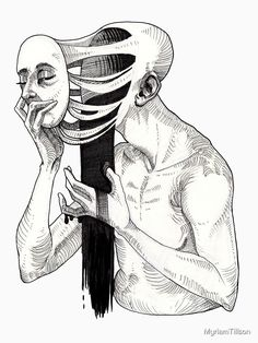 """Release"" by MyriamTillson Creepy Sketches, Creepy Drawings, Dark Art Drawings, Art Drawings Sketches, Drawings About Depression, Depression Illustration, Horror"