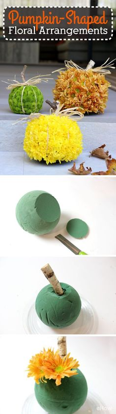 Just beautiful! We are in LOVE with these pumpkin-shaped floral arrangements! Using some creativity, you can use just about any fall colors to recreate these gorgeous pumpkins for your front porch, garden, or centerpiece in the living room. Just LOVE: http://www.ehow.com/how_12341031_make-pumpkin-out-flowers.html?utm_source=pinterest.com&utm_medium=referral&utm_content=freestyle&utm_campaign=fanpage