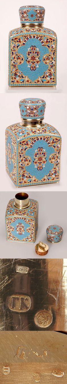 A Russian gilded silver and cloisonne enamel tea caddy, Gustav Klingert, Moscow, circa 1896-1908.