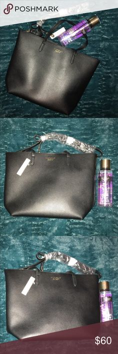 NWT Victoria's Secret Shoulder Bag & Body Spray NWT Victoria's Secret Spring Break Bundle NWT Black bag that could easily be used as a purse or for work, Gold Embossing, Gold tone hardware and snap closure, Includes a shoulder strap.  Never Used Body Spray in Confetti Flower Gorgeous combo!!  Would make an awesome Graduation Gift!! Retails for over 100. Priced to Sale!!! Ships same or next business day!  Smoke free home, Five ⭐️ Seller Packaged with Care. Victoria's Secret Bags