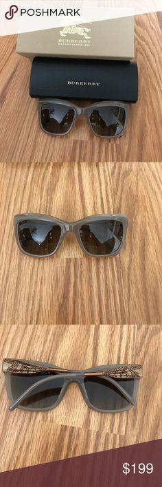 """Hello Sexy - Gender: Women's - Style: Cat Eye - Size: 56-20-140mm (eye-bridge-temple) - Frame Material: Acetate - Frame Color: Opal Beige - Lens Color: Brown gradient lens - Protection: 100% UV - Arms: Opal beige acetate with metallic ribbon hinge detail and logo signature - Nose Pads: None - Dimensions: 6"""" from temple to temple - Case included - Made in Italy Burberry Accessories Sunglasses"""