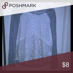 Gray and white lace shirt Gently worn.  Nothing wrong 2urg this shirt. Super comfortable. Size medium. Xhilaration Tops