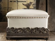 French Country Ceramic Bread Box - Iron Base & Finch Handle. Out of stock 9/12/13