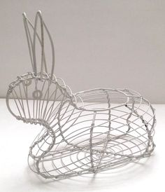 "Easter Bunny Rabbit Shaped White Wire 8"" Candy Egg Display Basket Holder Decor"