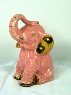 Vintage PINK ELEPHANT BANK Charming Childs by LavenderGardenCottag, $14.00