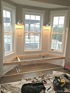 seat in kitchen building a window seat ( I have been wanting one in the bedroom forever! slm)building a window seat ( I have been wanting one in the bedroom forever! Home Renovation, Home Remodeling, Diy Casa, Diy Kitchen Storage, Home Projects, New Homes, House Design, Design Design, Design Ideas