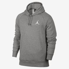 77aceeaed6ca Nike Mens Jordan Flight Pull Over Hooded Sweatshirt Light Grey White Size  Large  Made with Soft Terry Fabric and features and embroidered Jordan Logo  on the ...