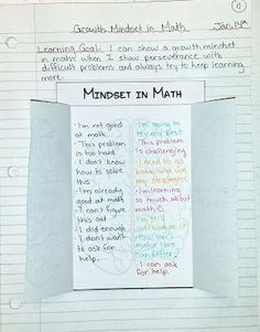 Growth mindset in math-help the kids change their negative thinking into a positive thought!