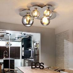 4-Light/8-Light Modern Glass Shade Semi Flush Mount Ceiling Light & Chrome Canopy