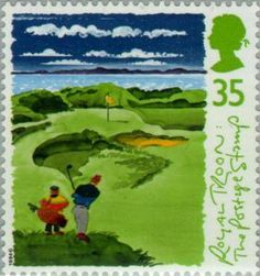 1994 Great Britain postage stamp commemorating Royal Troon's 8th hole. 35p. Scottish Golf Course Series.