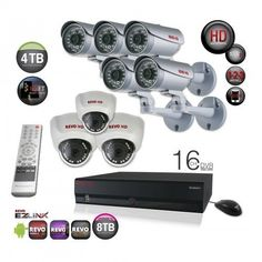 Professional Surveillance System Bundle - 16 Channel Network Video Recorder with Huge Storage and 8 HD CCTV Cameras (Indoor/Outdoor, Weatherproof, Day Night Vision) Surveillance System, Security Camera, Night Vision, Indoor Outdoor, Cameras, Channel, Storage, Day, Backup Camera