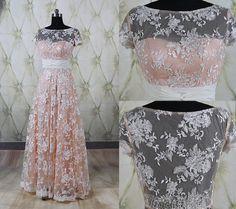 Fabulous lace long prom dress,long lace wedding guest dress,cap sleeves evening party dress, long formal dress, long bridesmaid dress