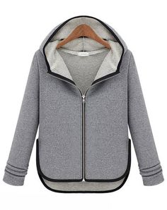 Grey Hooded Long Sleeve Contrast Trims Sweater - Sheinside.com