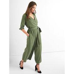 Gap Women Tie Belt Culotte Jumpsuit ($90) found on Polyvore featuring women's fashion, jumpsuits, monterey cypress, tall, v neck jumpsuit, white v neck jumpsuit, gap jumpsuit, long sleeve jumpsuit and tie belt