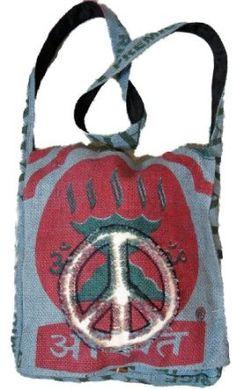 Peace Sign Purse Handbag Recycled Rice Bag $29.00