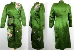 Vtg 30s 40s Jade SILK HAND PAINTED Floral Bird CHEONGSAM Fitted DRESS