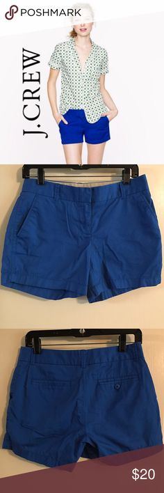 """J Crew Broken-In Chino Blue Shorts size 2 Womens J. CREW Broken-in Chino 100% Cotton Shorts in Size 2 Navy Blue. Excellent used condition   •Zip and Hook closure  •2 Front Pockets and 2 Back Pockets (one buttoned and one that doesn't open)  •Inseam: 4.5""""  •Length: 12.5""""  •Machine Wash Cold and Tumble Dry Low.     ☾I do NOT trade ✭10% off 2+ item bundles Instagram @Yami.Boutique (Secret Pop Up Discount codes!) J. Crew Shorts"""