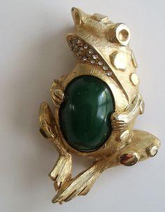 Vintage Hattie Carnegie Frog Brooch Pin Signed