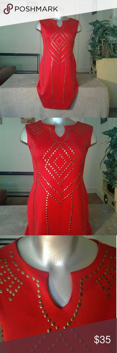 Ashley Stewart Red Gold Designed Dress Dress Dresses Midi