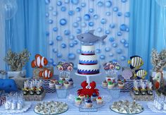 Water Birthday Parties, First Birthday Party Themes, 1st Boy Birthday, Kids Beach Party, Baby Cake Smash, Adoption Party, Shark Party, Boy Baby Shower Themes, Baby Shark