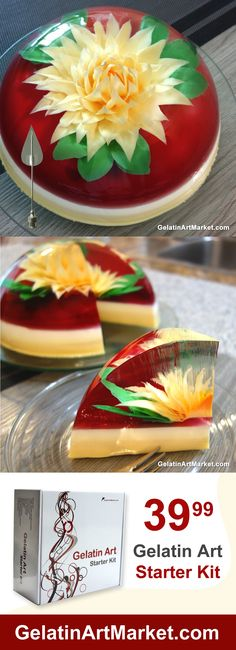Learn How To Make Gelatin Art Desserts, No Experience Needed. High Quality Gelatin Art Supplies And Tools! Creative Cakes, Creative Food, Rain Drop Cake, How To Make Gelatin, Jello Deserts, Birthday Cake Alternatives, 3d Jelly Cake, Extreme Cakes, Edible Crafts