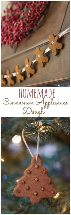 How to make ornaments and a gingerbread man garland with cinnamon and applesauce! The post How to make ornaments and a gingerbread man garland with cinnamon and applesauce& appeared first on Dekoration. Noel Christmas, Diy Christmas Ornaments, Christmas Projects, Winter Christmas, Holiday Crafts, Christmas Photos, Christmas Fireplace, Christmas Bulbs, Homemade Ornaments