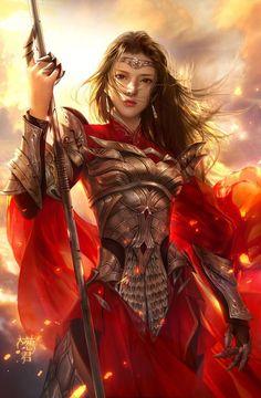Warrior sword women female flaming fire) beautiful