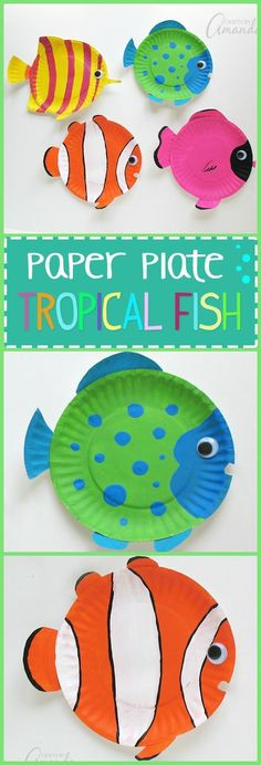 These paper plate tropical fish have bright, cheery and vibrant colors. There… These paper plate tropical fish have bright, cheery and vibrant colors. There's no doubt that your children will love making this paper plate craft! Paper Plate Art, Paper Plate Fish, Paper Plate Crafts For Kids, Paper Plate Animals, Fish Paper Craft, Fish Plate, Paper Art, Paper Plate Masks, Paper Crafting