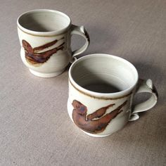 Vintage Eileen Brooker pottery bird mugs - Australian Pottery - onlygoodvintage Brutalist Design, Australian Vintage, Vintage Pottery, Contemporary Jewellery, Vintage Buttons, Scandinavian, Vintage Jewelry, Bird, Mugs