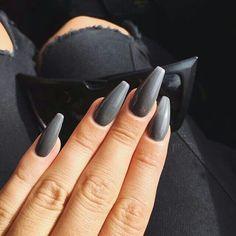 <3 @benitathediva    Coffin nails with dark gray nail polish. Acrylic nails.