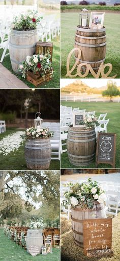 Country Wedding Great Ways to Use Wine Barrels - Em.- Country Wedding Great Ways to Use Wine Barrels – EmmaLovesWeddings country wedding ceremony decoration ideas with wine barrels - Decor Photobooth, Wine Barrel Wedding, Wedding Ceremony Decorations, Country Party Decorations, Wedding Centerpieces, Farm Wedding, Dream Wedding, Wedding Country, Perfect Wedding