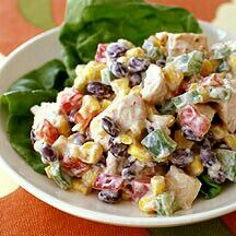 This is a great Weight Watchers Recipe for Tex Mex Chicken Salad! Great to eat with whole wheat tortilla chips too! Love it for lunch . Only thing I did different was cook the chicken in a skillet with taco seasoning and Pam spray . Skinny Recipes, Ww Recipes, Salad Recipes, Chicken Recipes, Cooking Recipes, Healthy Recipes, Recipies, Cookbook Recipes, Delicious Recipes