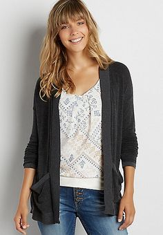 soft knit cardigan with contrast hems   maurices