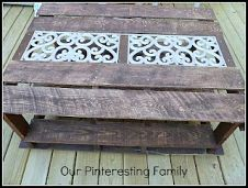 28 Ways to Repurpose Pallets & Old Doors DIY Pallet Coffee Table Pallet Crates, Pallet Chair, Wooden Pallets, Pallet Furniture, Painted Furniture, Outdoor Furniture, Pallet Wood, Pallet Tables, Furniture Ideas
