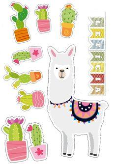 Cactus Stickers, Cute Stickers, Cactus Doodle, Llama Decor, Llama Birthday, Homemade Stickers, Mexican Party, Diy Hair Bows, Scrapbook Stickers