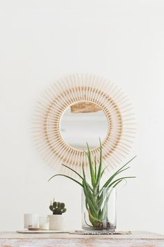 Handmade using woven rattan techniques this rattan eye mirror is perfect to make a statement in any room or partner with other mirrors to create a feature wall. Bali Decor, Bohemian Decor, Bohemian Style, Diy Wall Decor, Bedroom Decor, Bedroom Inspo, Nursery Decor, Hanging Baskets, White Decor
