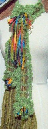 "Fiber Art scarf: "" THE TIE SCARF FOR PRESS GIFTING"" green alpaca yarn"
